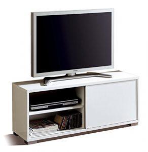 Abitti Mesa de TV módulo bajo Multimedia Color Blanco Brillo con Puerta corredera y 4 estantes. Mueble de salón Comedor. 109cm Ancho x 40cm Fondo x 46cm Altura 5
