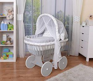 WALDIN Cuna Moisés, carretilla portabebés XXL, 44 colores a elegir,Madera/ruedas lacado en gris,color textil gris/estrellas-gris 3