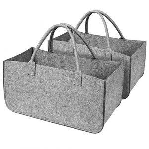 Homfa 2Pcs Bolsa Compra Reutilizable Bolsa Fieltro Plegable para Almacenamiento Cesta de Leñas con Mangos 49x25.5x25.5cm Gris 3