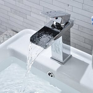 Grifo Lavabo Monomando Cascada, Grifos Modernos sin Plomo para Lavabos del Cuarto de Baño, Agua Fria y Caliente, Cromo 3