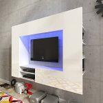 Festnight Mueble de Pared para Televisión Mueble Salón Moderno 169,2 cm con LED Blanco 11