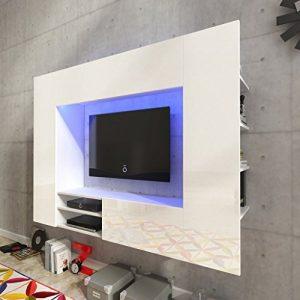 Festnight Mueble de Pared para Televisión Mueble Salón Moderno 169,2 cm con LED Blanco 4