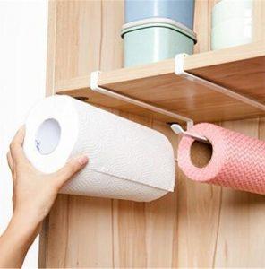 Hosaire Movimiento y Libre Perforado Wrap salvamanteles de plástico Soporte para Rollo de Papel de Cocina Toalla de Cocina Accesorio de Armario Rack de Almacenamiento de servilletas Soporte 6