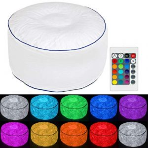 Tronje Taburete LED inflable Ø60cm Puff 120kg Cambio de Color Reposapiés para Exteriores Blanco 3