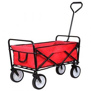 HOMFA Carro Plegable de Mano Carro transporte para jardín Carro para playa Carga 80kg (Rojo) 6