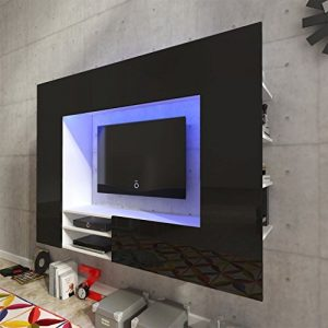 Festnight Mueble de Pared para Televisión Mueble Salón Moderno 169,2 cm con LED Negro 1