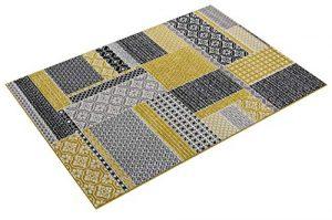 The Rug House Milan Color Ocre Amarillo Mostaza Gris Beige en Cuadros de Patchwork Tradicional Alfombra de salón 120cm x 170cm 4