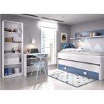HABITMOBEL Dormitorio Juvenil Completo Cama Nido 2 cajones + Estante + estantería 6 baldas + Mesa Escritorio 20