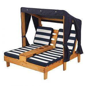 KidKraft 524 Tumbona doble de madera para niños con toldo y portavasos, muebles para jardín y exterior al aire libre - Miel y azul marino 3