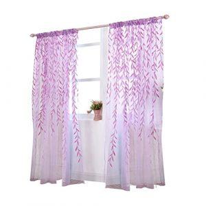 Visillos para Ventanas Cortina Voile con Bordado Hoja Púrpura 100x270cm 1
