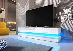 Vivaldi Mueble TV Design Fly Blanco Mate con Color Blanco Brillante. Eclairage a la LED Azul 6