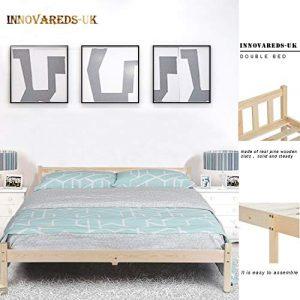 Estructura de la cama de pino macizo natural, resistente, color original 6