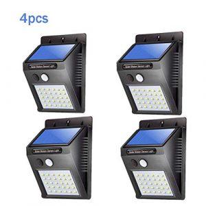 Ridioo 4 piezas x 30LED con energía solar Sensor de movimiento PIR Luz de seguridad de pared Jardín Lámpara para exteriores Iluminación con 3 modos 7
