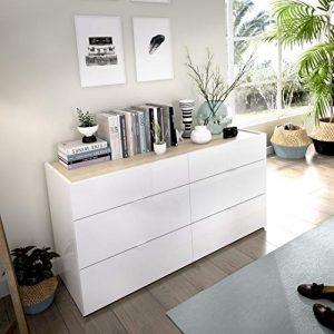 LIQUIDATODO ® - Comoda de 6 cajones 120 cm moderna y barata en blanco brillo y natural 5