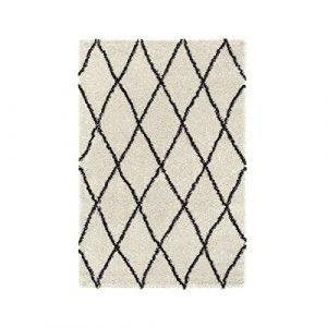 ASMA Tapis de salon Shaggy - Style berbere - 150 x 220 cm - Beige creme - Poils longs 2