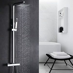 Homelody Cobre 38℃ Columna de ducha Termostatica sistema de ducha conjunto de ducha Ajustable 8