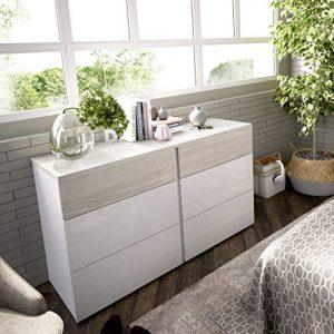 LIQUIDATODO ® - Comoda de 6 cajones 122 cm moderna y barata en blanco brillo y gris 7