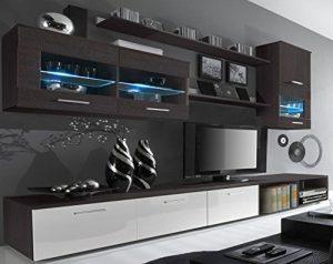 SelectionHome - Salón Moderno, Comedor con Luces Leds, Acabado en Blanco Brillo y Wengué, Medidas: 250x190x42 cm de Fondo 4
