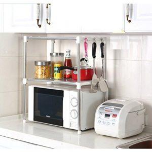 """Ndier Cocina Estante de Almacenamiento de Acero Inoxidable Horno de microondas Estante Accesorio de 12""""X 35.4"""" W x 24,2""""H 5"""