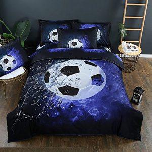 Stillshine Juego de funda nórdica diseño de balones de fútbol y baloncesto juego de funda de edredón y funda de almohada juego de cama (Fútbol, 180 x 220 cm - Cama 105/90 cm) 3
