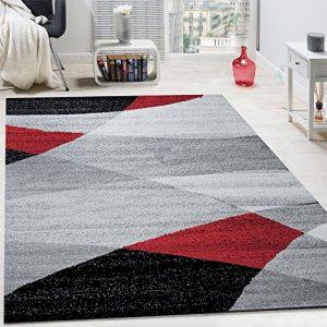 Paco Home Alfombra De Diseño Moderno con Estampado De Líneas Curvas Onduladas De Velour Corto Mezclado Roja, tamaño:120x170 cm 6