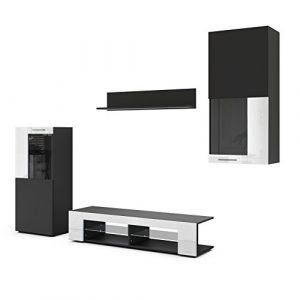Conjunto de Muebles de Pared Movie, Cuerpo en Negro Mate/Frentes en Negro Mate y Blanco de Alto Brillo 7