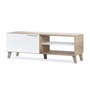 Habitdesign 026670F - Mueble de Comedor Moderno, Mueble Salon TV Color Blanco Brillo y Roble Canadian, Modelo Nara, Medidas: 130 x 45 x 42 cm de Profundidad 1