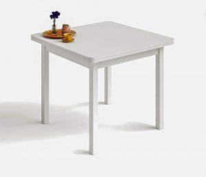 HOGAR 24 Mesa Cuadrada Multiusos Comedor Cocina Dimensiones 90 cm x 90 cm Extensible Libro a 180 cm x 90 cm. Color Blanco 7