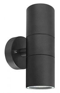 Long Life Lamp Company doble hacia arriba y abajo al aire libre lámpara de pared de acero inoxidable, negro 7
