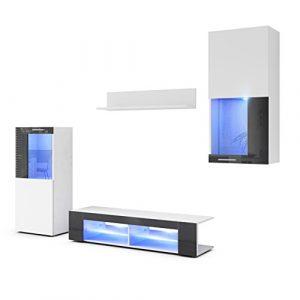 Conjunto de Muebles de Pared Movie, Cuerpo en Blanco Mate/Frentes en Blanco Mate y Negro de Alto Brillo con iluminación LED en Azul 9