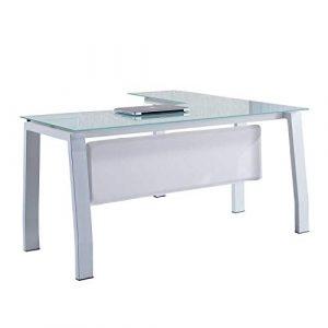 Mesa de despacho 150 cm modelo BLAKE con estructura metálica y cristal templado color blanco - Sedutahome 8