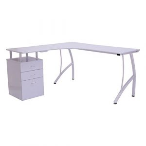 HOMCOM Mesa de PC Mesa de Ordenador Escritorio de Oficina Mesa con Cajonera para Hogar Escuela y Oficina 151.5x143.5x76cm Madera Blanco 9