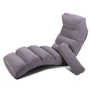 Puffs pera Plegable Lazy Sofa Silla Lounger Couch Sola Cama Plegable Respaldo Chair Balcony Ocio Tumbona, Extraíble Cubierta Lavable (Color : Gray) 3