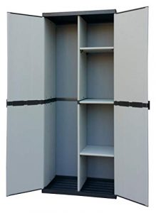 Adventa - Armario escobero de Resina con 2 Puertas, estantes Regulables (Interior/Exterior), Gris Negro, 68 x 39,5 x 168 cm 6