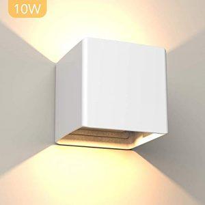 Hommie 10W Moderno Aplique Pared LED Ángulo de Luz Ajustable Aplique Pared Interior 1000LM Impermeable Lampara Pared Exterior Arriba Abajo Luz de la Pared para Dormitorio Porche 3000K Blanco Cálido 10