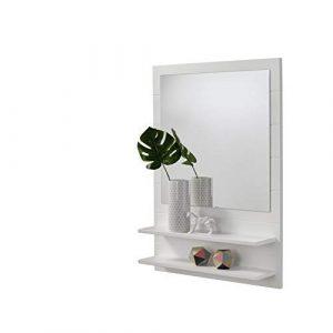 HOGAR24 ES Mueble recibidor para Entrada con Espejo y Dos baldas, Color Blanco. 8