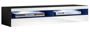 muebles bonitos - Mueble TV Modelo Tobic (160 cm) en Color Negro y Blanco 2