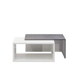 Movian Turia - Mesa de centro,110 x 70 x 73cm (largo x ancho x alto), blanco y efecto hormigón 9