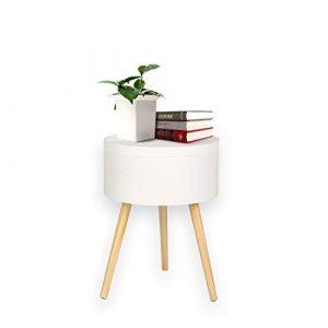 2 en 1 Mesa de centro + caja de almacenamiento Muebles de mesa lateral Almacenamiento redondo Estilo escandinavo Bandeja de servicio Madera Blanco 38X38X52CM 3