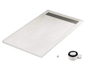 Plato ducha resina antideslizante textura pizarra Lane Bricodomo 80x160 Blanco 2