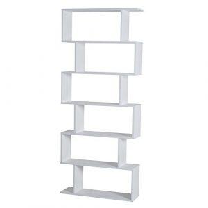 HomCom® Estantería Alta Librería 6 Estantes Comedor Salón Diseño Moderno Montaje de Pared 80x23x192cm Madera Blanca 4