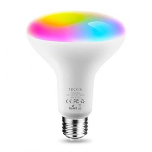TECKIN Bombilla inteligente LED WiFi ajustable y Bombillas WiFi BR30 E27 100W, Funciona con Alexa, Echo,Google Home y IFTTT,RGB equivalente 13W bombilla de cambio de color,1 paquete 10