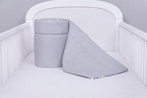 AMI Lian® Protector de cama nido-Protector de cabeza cuna 420x 30cm, 360x 30cm, 180x 30cm Cama Cuna Baby Protector de bordes cama Equipamiento Monótono: Gris Talla:360x30 6