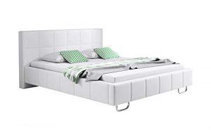 muebles bonitos Cama de Matrimonio Moderna Sofia con somier de láminas para colchón de 135x190cm Blanco diseño Italiano Elegante 10