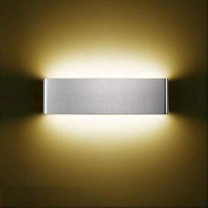 XIAJIA-12W LED Lámpara de pared Interior,Moderna Apliques de Pared,Moda Agradable Luz de Ambiente, AC85-265V, Longitud 30cm,Blanco Cálido/Plata/aluminio cepillado 5