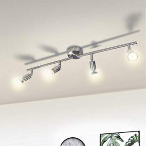 Wowatt Lámpara de techo LED Plafón con Focos Giratorios 4X Bombillas GU10 Bajo consumo 6W 230V 2800K Blanco cálido 600lm 83Ra IP20 Níquel Mate Longitud 68cm 1