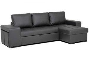 Confort24 Chloe Sofá Cama 3 Plazas Chaise Longue Reversible com 2 Puffs (Negro) 3