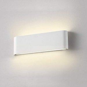 Apliques Pared Interior Blanco, Wowatt Lámpara de Pared Moderna LED 12W 220V Apliques LED 2800K Blanco Cálido Aluminio 960LM Luz de Decoración para Salón Dormitorio Sala Pasillo Escalera 30 CM 7