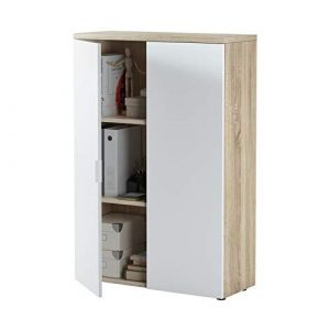 Habitdesign 0F5655A - Mueble auxiliar despacho, modelo Office, Blanco Artik y Roble Canadian, medidas: 119 x 80 x 32,5 cm 5