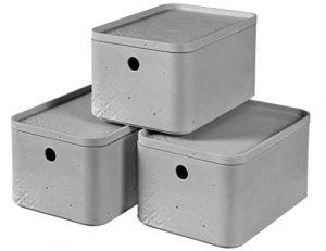 KETER Pack de 3 Cajas Beton, Gris, S 1